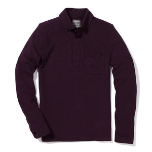 Long Sleeve Oxford Pique Polo - Burgundy
