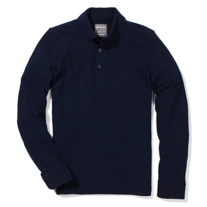 Lowell - Navy Long Sleeve Oxford Pique Polo