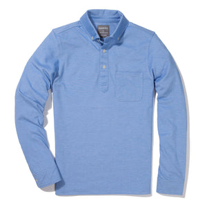 Long Sleeve Oxford Pique Polo - Sky Blue