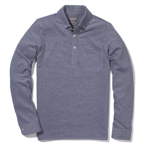 Atlantic - Dark Blue Long Sleeve Oxford Pique Polo