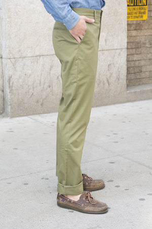Willoughby (Slim) - Olive Italian Cotton Herringbone