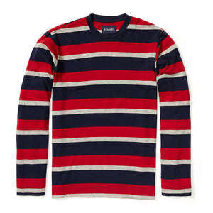 Bradford - Navy Red Gray Stripe Long Sleeve Tee