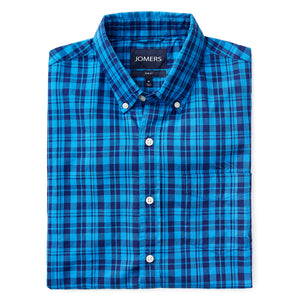 Washed Button Down Shirt - Bleeker Blue Plaid