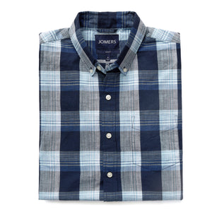 Washed Button Down Shirt - Pacific Blue Indian Madras