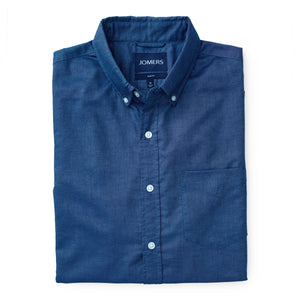 Washed Button Down Shirt - Indigo Blue Oxford