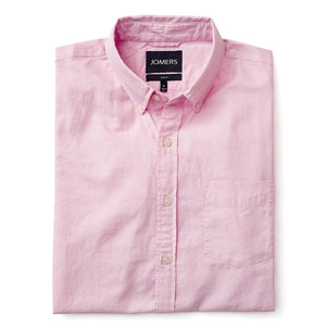 Washed Button Down Shirt - Pink Herringbone