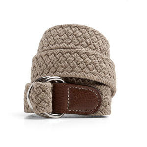 Khaki Macrame Web Belt with D-Ring