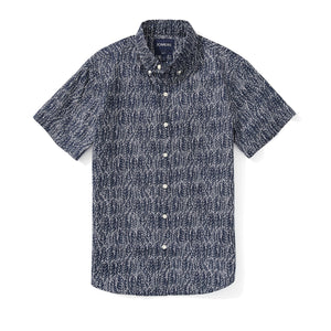 Italian Short Sleeve Shirt - Navy Leaf Print