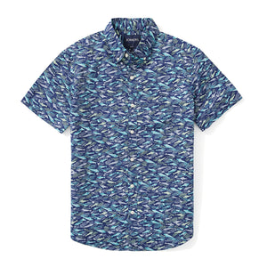 Italian Short Sleeve Shirt - Blue Fish Scatter