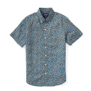 Italian Short Sleeve Shirt - Blue Vintage Floral