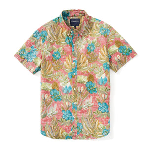 Italian Short Sleeve Shirt - Red Tropic Floral Print
