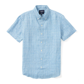 Irish Linen Short Sleeve Shirt - Blue Plaid
