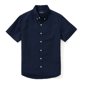 Japanese Poplin Short Sleeve Shirt - Navy