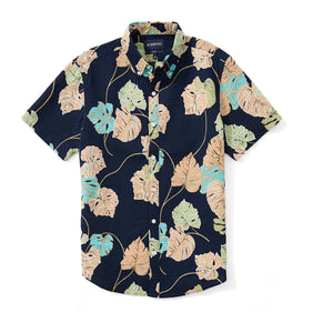 Italian Short Sleeve Shirt - Seersucker Navy Print