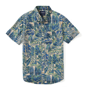 Italian Short Sleeve Shirt - Elba Leaf Print