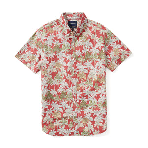 Italian Short Sleeve Shirt - Red Logan Palm