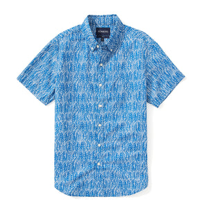 Italian Short Sleeve Shirt - Blue Leaf Print