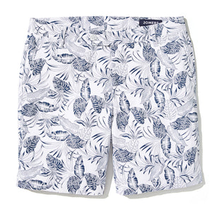 Nelson - White Palm Leaves Print Shorts
