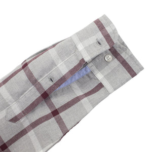 Kensington (Standard) - Grey Burgundy Check Oxford Button Down