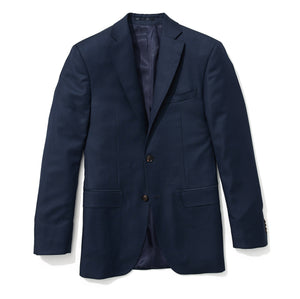 Slim Italian Wool Suit - Navy Sharkskin