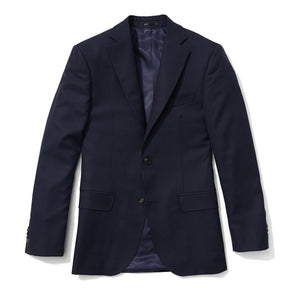 Slim Italian Wool Suit- Blue Hopsack