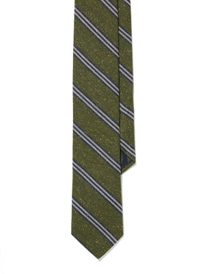 Tie - Green Navy Textured Stripe
