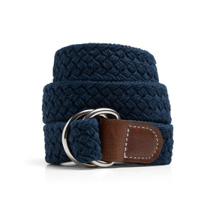 Navy Macrame Web Belt with D-Ring