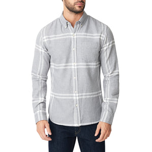 Washed Button Down Shirt - Gray Twill Jaspe Plaid