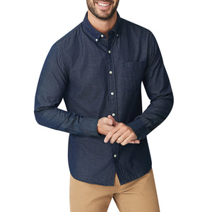 Washed Button Down Shirt - Italian Indigo Oxford