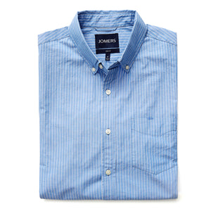 Washed Button Down Shirt - Blue Evans Stripe