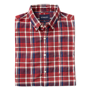Washed Button Down Shirt - Brushed Japanese Twill Madison Plaid