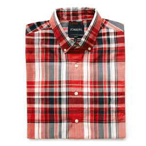 Washed Button Down Shirt - Edgewood Madras Plaid