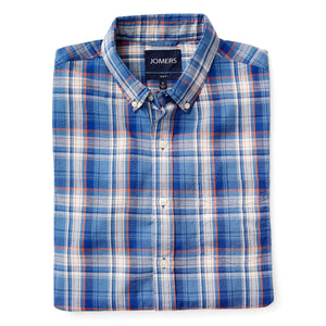 Washed Button Down Shirt - Union Blue Indian Madras