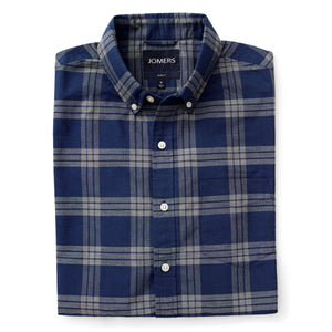 Washed Button Down Shirt - Yonkers Blue Plaid