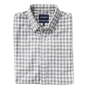 Washed Button Down Shirt - Gray Herringbone Brushed Gingham