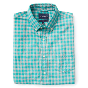 Washed Button Down Shirt - Royal Aqua Herringbone Brushed Gingham