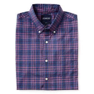Washed Button Down Shirt - Len Ash Plaid