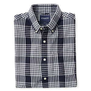 Washed Button Down Shirt - Royal Navy Oxford Plaid