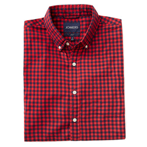 Washed Button Down Shirt - Buffalo Red Herringbone Brushed Gingham