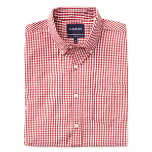 Washed Button Down Shirt - Mini Red Gingham