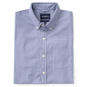 Washed Button Down Shirt - Mini Blue Gingham