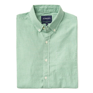 Washed Button Down Shirt - Mini Green Gingham