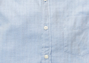 Washed Button Down Shirt - Blue Herringbone