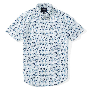 Malibu  - White Abstract Geo Short Sleeve Shirt