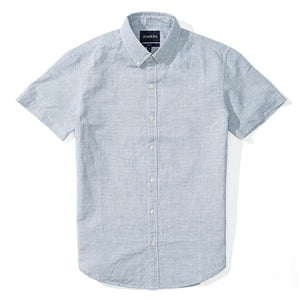 Aaron - Light Blue Crosshatch Short Sleeve Shirt