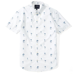 Palm Beach  - White Palm Print Short Sleeve Shirt