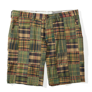 Belize -Olive Madras Patchwork Shorts