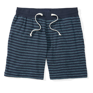 Carson - Blue Striped Knit Sweat Shorts
