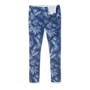 Monterey (Slim) - Navy Floral Japanese Cotton Flax Chinos