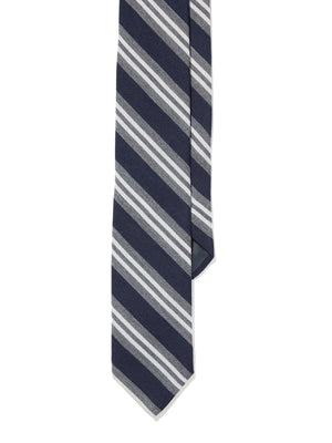 Tie - Navy Gray Double Striped Repp